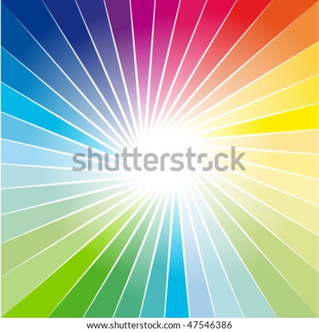Abstract Rainbow Ray of lights explosion background