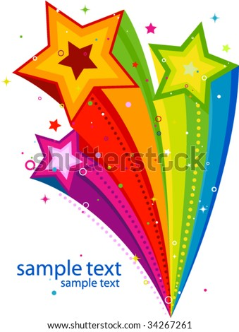 abstract rainbow stars design