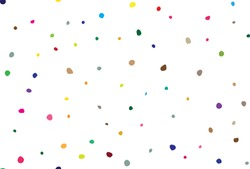 Abstract Random Fun. Irregular Ink Dot Pattern. Rainbow Happy Color Background. Red Vector Explosion Paint. Small Pattern Cute Effect. Polka Dot. Orange Vector Spot Polkadot. Seamless Graphic Spot.