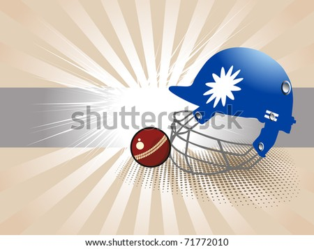 abstract rays background with isolated helmet, cricket ball, vector illustration