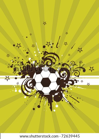 abstract rays, grungy background with isolated football, vector illustration - stock vector