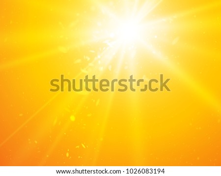 abstract rays yellow vector background with light dots