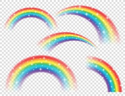 Abstract Realistic Colorful Rainbow with Shiny Stars on Transparent Background. Vector illustration.