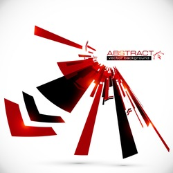Abstract red and black shining lines vector background
