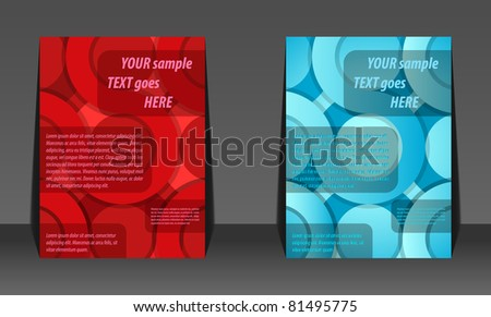Abstract red and blue circle background flyer design