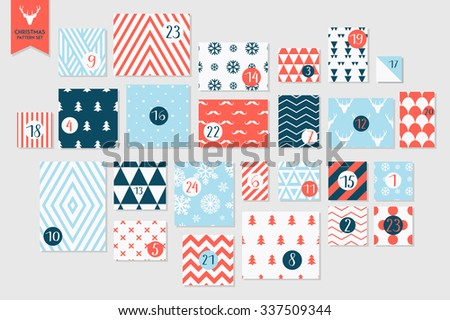 Abstract red and blue colored twenty four various seamless patterns set. Count down till christmas. Advent calendar. Vector