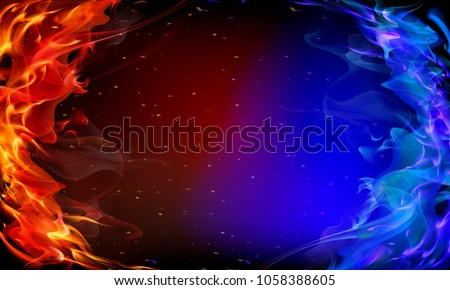 Abstract red and blue fire