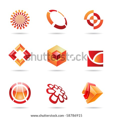 Abstract red and orange Icon Set isolated on a white background
