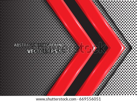 abstract red arrow on metal