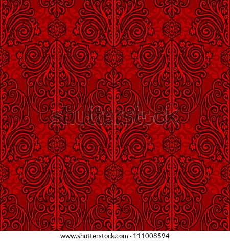 Abstract red background, royal, monochrome damask ornament, beautiful vintage, rich seamless pattern, luxury vector wallpaper, floral, oldest style fashioned arabesque fabric for decoration and design