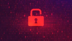 Abstract Red Background with Binary Code Numbers. Data Breach, Malware, Cyber Attack, Hacking