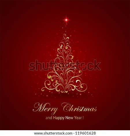 Abstract red background with golden Christmas tree, illustration.