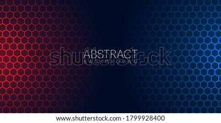Abstract red & blue light hexagon line in black modern luxury futuristic background vector illustration.