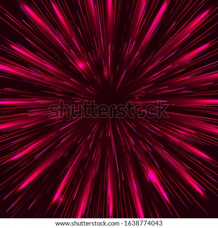 Abstract red circular geometric background. Circular geometric centric motion pattern. Starburst dynamic lines or rays. Eps10 vector illustration.