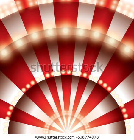 Abstract red curtains moulin rouge. Circus stage with red and white lines and spotlights. Paper cut circus panel. Moulin rouge. Vector illustration.