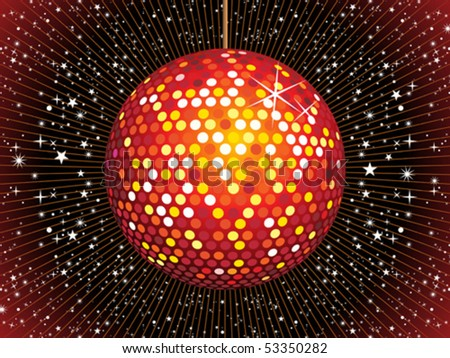 abstract red disco ball vector illustration