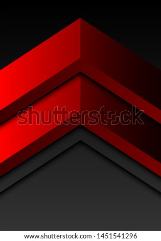 Abstract red double arrow direction on grey blank space design modern futuristic background vector illustration.