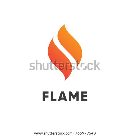 abstract red flame fire logo