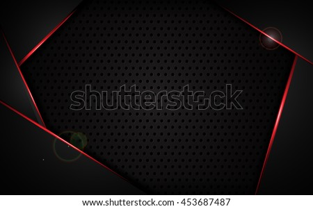 abstract red frame with steel texture hole pattern sports tech modern template design concept background