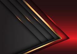 Abstract red grey gold arrow metallic direction luxury overlap design modern futuristic background vector illustration.
