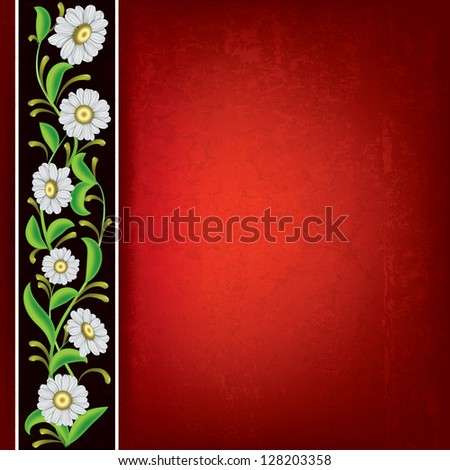 abstract red grunge background with chamomiles on brown