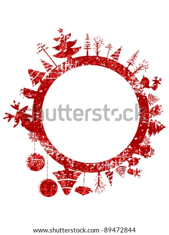 Abstract red grunge Christmas stamp with small elements like Christmas trees, Christmas ball, gift boxes  & Reindeer for Christmas & other occasions.