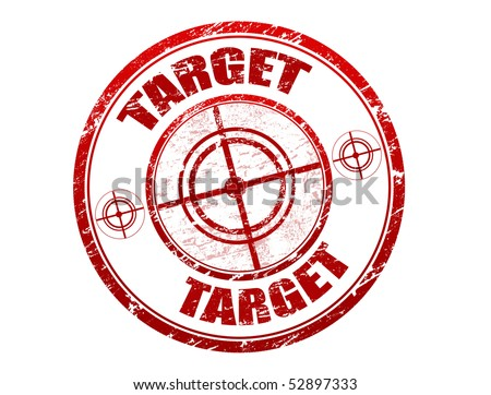 Abstract red grunge office rubber stamp with target sign and the word target written inside the stamp