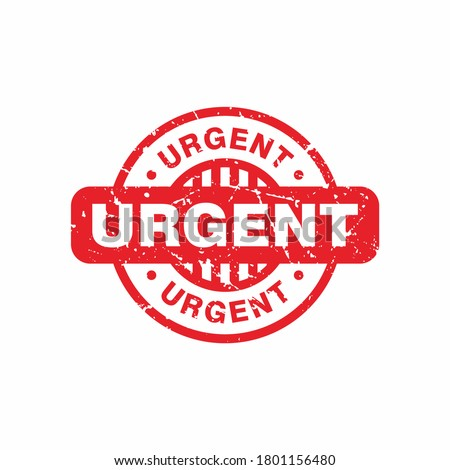 Abstract Red Grungy Urgent Rubber Stamps Sign with Circle Shape Illustration Vector, Urgent Text Seal, Mark, Label Design Template Stockfoto ©