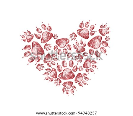 Abstract red heart free hand style with footprints