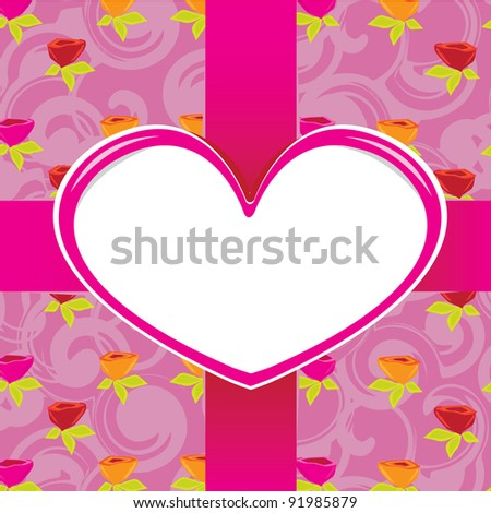 Abstract red heart with red ribbons on vintage rose background- vector illustration. St. Valentine's Day greeting card.
