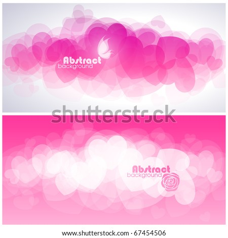 Abstract red hearts. Vector illustration.