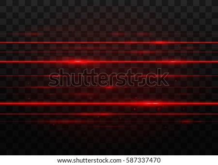 Abstract red laser beams. Isolated on transparent black background. Vector illustration, eps 10.