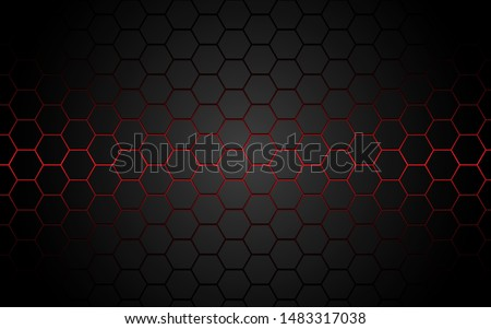 abstract red light hexagon line