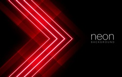 Abstract red light neon arrow direction on black blank space design modern futuristic technology background vector illustration.