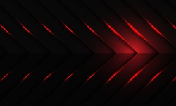 Abstract red light on dark metallic arrow pattern design modern futuristic background vector illustration.