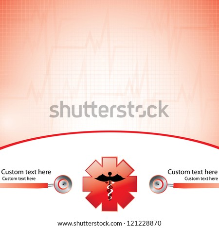 Abstract red medical background - stock vector