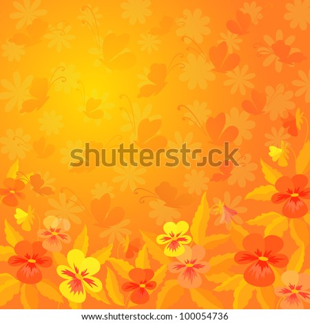 Abstract red, orange, and yellow background: pansies flowers and butterflies silhouettes. Vector