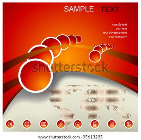 abstract red-orange background with world map, vector