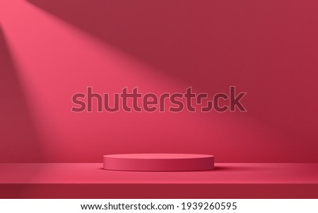 Abstract red, pink cylinder pedestal podium, Red, pink empty room, Shadow of window. Vector rendering 3d shape, Product display presentation. Studio room concept, Minimal wall scene.