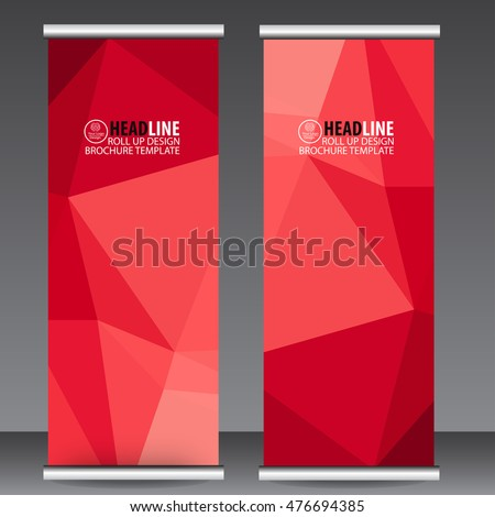 Abstract Red Roll Up Banner template vector illustration, polygon background, stand, display, advertisement, flyer design