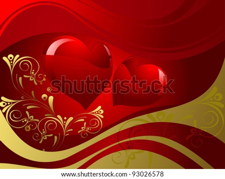 Abstract red shapes of hearts, background dark red