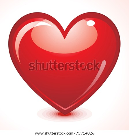 abstract red shiny heart vector illustration