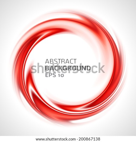 Abstract red swirl circle bright background. Vector illustration for you modern design. Round frame or banner with place for text.