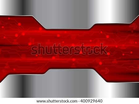 Abstract red technology design with metallic texture. Bright hi-tech vector background stock photo