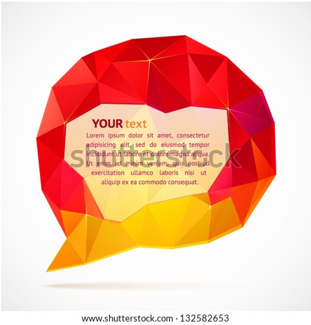 Abstract red triangles speech bubble with place for your text