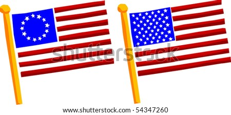 Abstract rendering of current US flag and original US flag