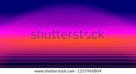 Abstract retro background, 80s style. Futuristic digital landscape, neon party flyer. Vector illustration.