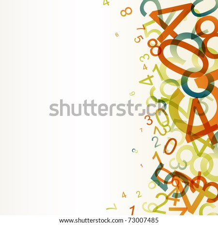 Abstract retro background with colorful rainbow numbers
