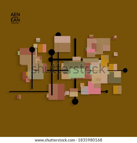 Abstract retro colored mid century background. Modern material design with overlapping geometric shapes. Realistic shadow of paper cut craft. Template with different levels of paper surfaces.