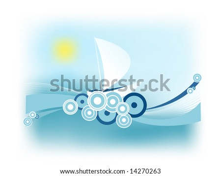 abstract retro illustration with a sailing boat on the waves - stock vector